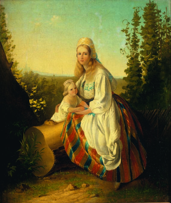 Carl Timoleon von Neff. Estonian woman with a Child. 1850s. Oil on canvas. 47.9 x 38.7 cm. Art Museum of Estonia Von Neff was a Baltic- German artist and art collector. The picture depicts the typical colonial viewpoint in the middle of the 19th century which saw Estonians as exotic and romantic creatures. Teachers still value the painting highly, pointing out the colourful clothes of the woman.