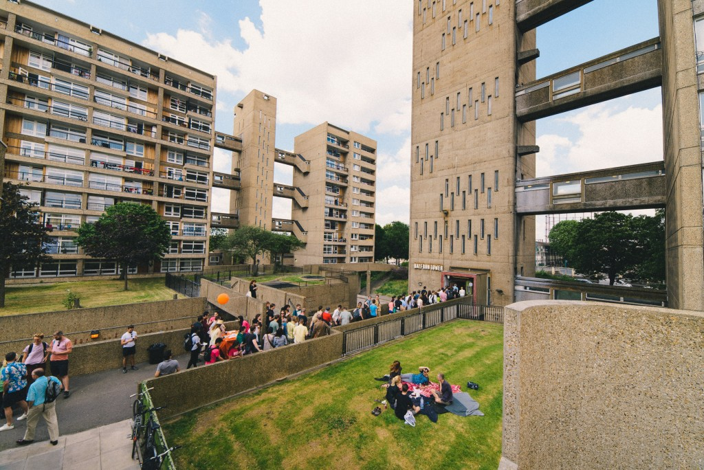 A celebration at Balfron Tower (architect Ernö Goldfinger), London