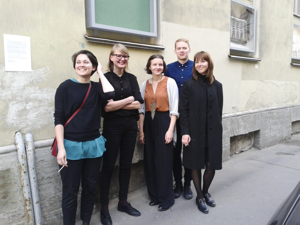 Rundum at Manifesta 10 in St Petersburg in 2014. From the left: Mari Volens, Kristina Õllek, Kulla Laas, Aap Tepper and Mari-Leen Kiipli.