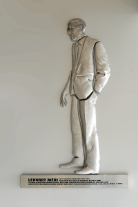 Bas-relief of Lennart Meri by Mare Mikof at the Tallinn Airport, 2008