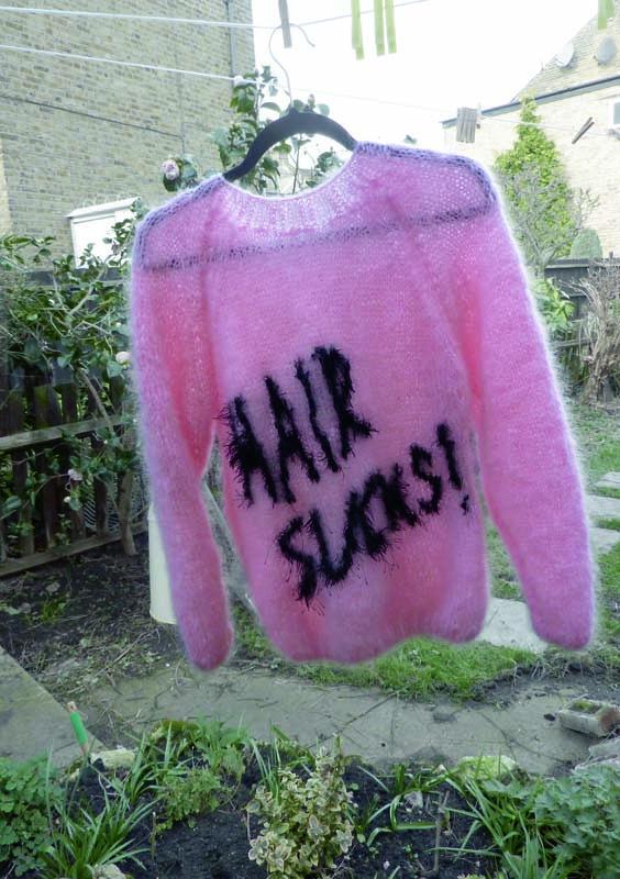 Jaanus Samma. T02.1 'Hair Sucks'. 2012.  Mohair. Knitter: Mare  Tralla. Ca 60 x 60 cm.